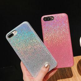 Glitter For Glasses Australia - Luxury Designer Hologram Glitter Glass Case for IPhone X XS MAX XR 8 7 Plus 6 S 6s Plus I Phone 7plus Rainbow Phone Protective Holo Cover