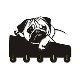 $enCountryForm.capitalKeyWord Australia - English Bulldog Clothes Hooks Lovely Puppy Dog Animal Silhouette Wall Hanger Towels Hooks Nursery Decor For Bathroom