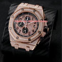 Quartz stainless steel black red band online shopping - 6 Style Hot Selling Top Quality mm Offshore Full Diamond Beze Bracelet Leather Bands VK Quartz Chronograph Workin Mens Watch Watches