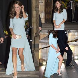 Discount jenny packham dress plus size - Sky Blue High Low Prom Dresses 2018 Jenny Packham Kate 1 2Long Sleeve Chiffon V Neck Celebrity Formal Dresses Evening We