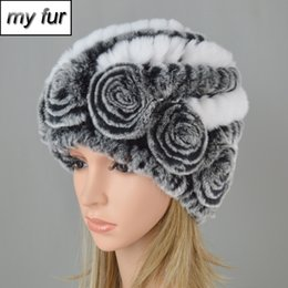 7ee0bab0adc6e1 New Russia Winter Women Flower Striped Natural Real Fur Hats Lady Warm Knit  Genuine Rex Rabbit Fur Caps Outdoor Beanies Hats