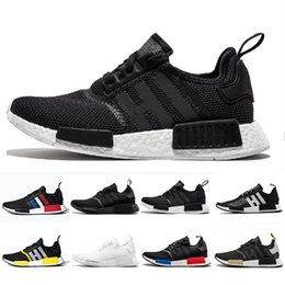 military running shoes NZ - Cheap Bred Runner R1 Primeknit atmos Thunder nmds Running shoes For Men Women OREO Military Green red Marble Tri-Color Sports sneakers 36-45