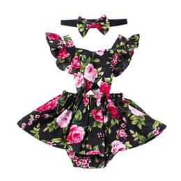 063589b48ba92 Newborn girls dresses with headband kids designer clothes baby girl ruffles  sleeve Floral print rompers Valentines Day