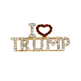 Wholesale I love trump Brooch pins rhinestone letter glitter brooches women fashion heart pins party favor gifts LJJA2872
