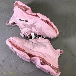 Cartoon shoes sale online shopping - With Bag Hot Sale Original Triple S Sneakers Air Cushion Shoes Men Women Sneakers Balenciaga Tennis Shoes A06
