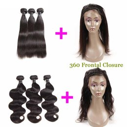 $enCountryForm.capitalKeyWord Australia - 8A Peruvian Hair 360 Lace Frontal Closure with 3 Bundles Body Wave Hair Full 4 Pieces lot Brazilian Human Hair 360 Frontal Closure