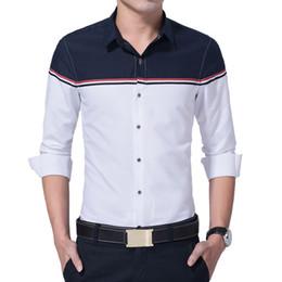 Long Shirt Men Fashion Australia - 2019 New Autumn Fashion Brand Men Clothes Slim Fit Men Long Sleeve Shirts Mens Patchwork Casual Chemise Men Shirt Social
