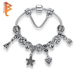 $enCountryForm.capitalKeyWord NZ - USpecial Mix Style European Silver Plated Charm Beads Bracelets DIY Jewelry Heart Charm Starfish Bracelets With Safety Chain Christmas Gift
