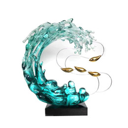 abstract resin art 2020 - European Home Living Room Decorations Art Decorative Water Like Resin Craft Abstract Sculpture Home Hotel Decoration Sta
