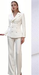 Fildişi kadın V Yaka Pantolon Fotoğraf Çekimi Takım Elbise Serin Kız Takım Elbise Düğün Resmi Custom Made Ceket Pantolon indirimde