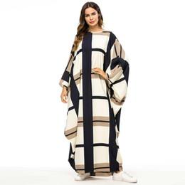 Discount block bat - 2019 Bat Shape Dress Gowns for Women Fashion Plaid Color Block Muslim Robes Oversized Bat Sleeve Maxi Vestidos Big Size