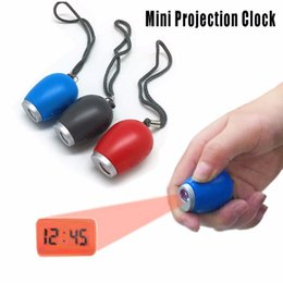 Wholesale Mini Digital Portable Clock Portable LED Clocks Time Projection Night Light Projector Clock With Key Chains