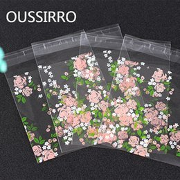 Adhesive Packaging Bags Australia - 10Pcs 25Pcs 50Pcs 100Pcs Rose Flowers Candy Cookie Bags Wedding Party Gift Bag Self Adhesive Plastic Jelly Biscuit Packaging Bag C18112701