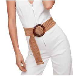 $enCountryForm.capitalKeyWord Australia - Round Wooden Buckle Dress Belt For Women Casual Female Braided Wide Strap Female Designer Woven Girls Elastic PP Straw Belts