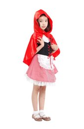 red dressed cartoon girl Australia - Shanghai Story children girl halloween party cosplay lovely Red Riding Hood girl costume for kids Fancy dress