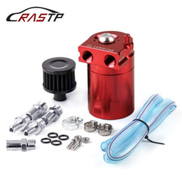 Wholesale RASTP Universal Car Baffled Aluminum Red Oil Catch Can Tank with Black Air Filter Car Accessories RS OCC009
