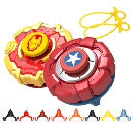 Wholesale Avengers Spinning Fight Top Iron Man Spider Hulk Captain America Whipping Tops Gyroscope Beyblade Kid Bettle Toy Schoolboy zt O1