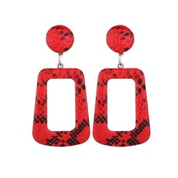 Leather Rhinestone Earrings Wholesale Australia - 2019 Oversize Snake Skin Geometric Drop Earrings for Women Large Big Leather Statement Dangle Earring Party Fashion Boho Jewelry
