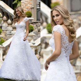 $enCountryForm.capitalKeyWord Australia - Vintage Cap Sleeve 2019 Wedding Dresses Beads V Neck Lace Appliques Vestidos de Novia Sweep Train Boho Bridal Gowns