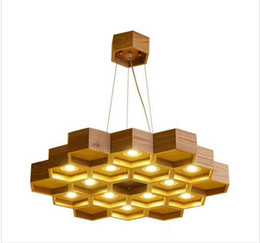 wood light lamps UK - Loft Wood Pendant Lamp Honeycomb Chandeliers Nordic Antique Wooden Founded On Solid Wood Light Bar Coffee Shop Small Chandeliers LLFA