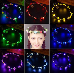 $enCountryForm.capitalKeyWord Australia - Glowing Garland Wedding Party Crown Flower Headband LED Light Christmas Neon Wreath Decoration Luminous Hair Garlands Hairband LED Toys