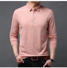solid color long sleeve t shirts Canada - Solid Color Autumn Men Designer Sweatshirts Casual Clothes Lapel Mens T-Shirts Cotton Casual Long Sleeve Tees