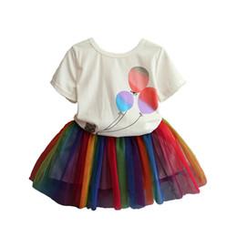 $enCountryForm.capitalKeyWord Australia - 2019 new summer style baby girl clothing sets 2pcs cartoon short sleeve T-shirt + short tulle skirt children clothes suit for toddler girl