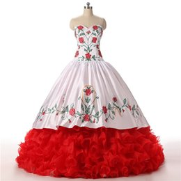 $enCountryForm.capitalKeyWord Australia - Classic Flowers Embroidery Quinceanera Prom dresses 2019 Ball Gown Cheap Red White Ruffles Real Photo Sweet 16 Dress Vastidos De Dress