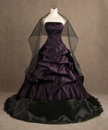 Strapless Satin Wedding Dresses Bridal Australia - Classic Black and Purple Gothic Wedding Dresses Strapless Ruched Draped Ball Gowns Satin Corset Bridal Gowns with Free Shawl
