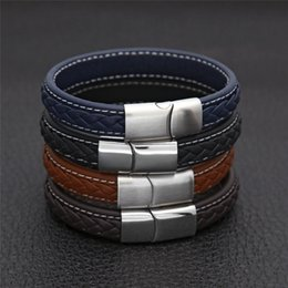 wholesale car lining Australia - 2018 New Europe and America Personality handmade leather men's bracelet boutique stainless steel buckle car line lambskin bracelet wholesale