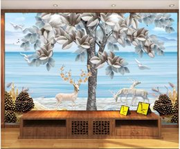 $enCountryForm.capitalKeyWord NZ - 3D wallpaper custom photo Silk mural wallpaper Modern minimalist Nordic embossed three-dimensional fortune tree elk European background wall