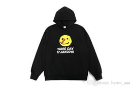 Discount yellow smiley hoodie New Arrivals Men And Woman Fashion Yellow Smiley Face Printing Hoodie Brand Loose-fitting Hoodie Hip Hop Sweatshirt Thin