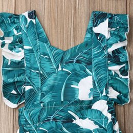 leaf tutu Canada - New 2Pcs Toddler Baby Girls Summer Leaves Romper One-Pieces Sunsuit Clothes