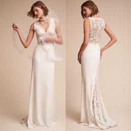 White Ivory Mermaid Wedding Australia - 2019 White Ivory Mermaid Wedding Dresses Elegent Sheath Sleeveless Boho Lace Long Bridal Gowns Custom Made