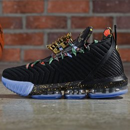 $enCountryForm.capitalKeyWord NZ - New lebron 16 Watch The Throne Men Basketball Shoes Black Metallic Gold-Rose Frost James 16 KC Gold Lacelocks Mens Athletic Sports Trainer-s