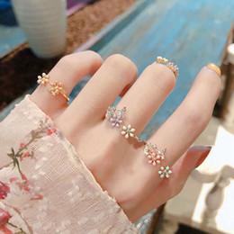 $enCountryForm.capitalKeyWord Australia - MENGJIQIAO 2019 New Sweet Flower Zircon Adjustable Rings For Women Girls Fashion Summer Elegant Bague Finger Rings Jewelry