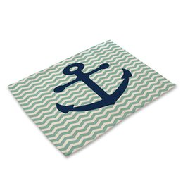 $enCountryForm.capitalKeyWord UK - Anchor sailing Pattern Cotton Linen Western Pad Placemat Insulation Dining Table Mat Bowls Coasters Kitchen Accessories
