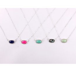 $enCountryForm.capitalKeyWord NZ - 11 Colors Silver Plated Crystal Pave Small Oval Geometric Pendant Choker Necklace for Women 2019 Spring Summer Chokers Fashion Jewelry