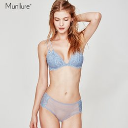 d0a7bebfca1cb Munllure Blue no steel ring bra ultra-thin lace triangle cup non-slip  shoulder strap underwear briefs suit women bra set
