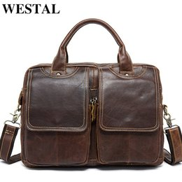 $enCountryForm.capitalKeyWord Australia - Westal Men's Genuine Leather Bags Male Messenger Bag Men Leather Shoulder crossbody Bags For Men Laptop Bag 14 Man Handbags 8002 Y190620