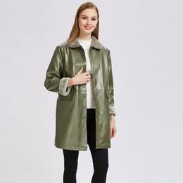 green jacket leather 2019 - Leather Jacket Women's Autumn Winter Leather Jacket Medium Thicken Casual Coat robe femme female kosha cheap green
