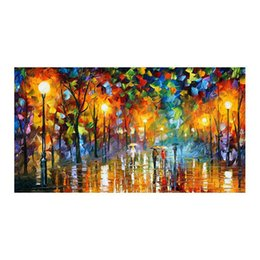 "hand painted romantic canvases UK - Romantic walking in the rain forest european-style hand-painted oil painting murals restaurant sitting room sofa decorative painting 36""x48"""
