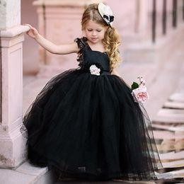$enCountryForm.capitalKeyWord Australia - Lovely Black Kid Formal Wears Princess Flower Girls Dreses For Wedding with Sash Hand Flower Backless Tulle tutu Skirt First Cummunion dress