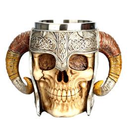 $enCountryForm.capitalKeyWord UK - 2018 New Style Coffee Mug Resin Striking Warrior Tankard Viking Skull Double Wall Christmas Cup Dropshipping Item J190716