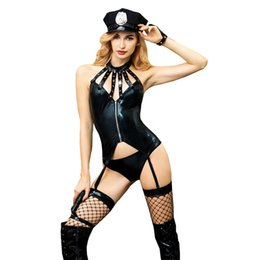 Sexy Women's Night Club PU leather Erotic Police Cosplay Costume Sexy Lingerie