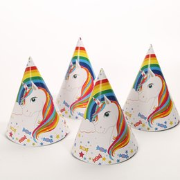 $enCountryForm.capitalKeyWord NZ - High-quality Unicorn Design Paper Hat Cap 6 Pcs pack Birthday Party Supplies for girls boys Baby room Decoration