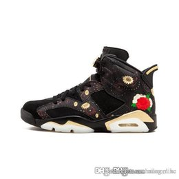 Wholesale Cheap Mens Jumpman VI basketball shoes s CNY China Luar New Year Firework Floral Print Oreo Black Gold AJ6 sneakers with box for sale