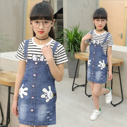 $enCountryForm.capitalKeyWord Australia - Children's wear 2019 summer new girls denim strap skirt children Korean version cartoon strap dress + T-shirt two-piece sets Free