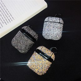 Storage charger online shopping - Colorful rhinestone For Apple Airpods protection cases For Apple Bluetooth headset storage box full drill anti fall bag applies
