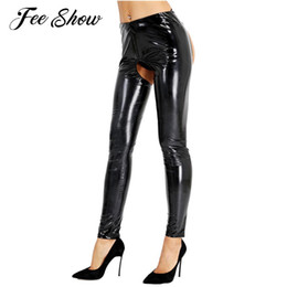 China Womens Wetlook Patent Leather Latex Sexy Open Crotch Butt Pencil Leggings Pants Clubwear Hot Skinny Stretchy Trousers C19031601 cheap latex black leggings suppliers